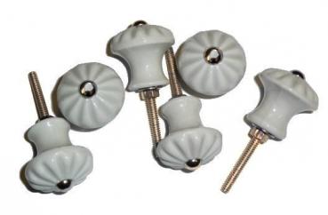 6 st ck porzellankn pfe 6006m durchmesser 32mm gerillt mit messingzierschrauben. Black Bedroom Furniture Sets. Home Design Ideas